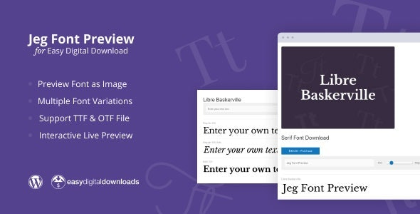 CodeCanyon – Jeg Font Preview v1.0.1 – Easy Digital Downloads Extension WordPress Plugin – 27730518